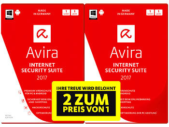 Avira Internet Security Suite 2017 - 1+1 Special (2 Lizenzen oder 2 Jahre) Avira Internet & PC-Security (PC-Softwares)
