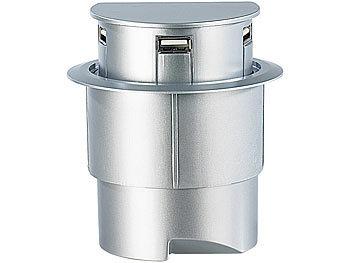 Xystec Tisch Kabeldose 80 mm, mit USB Hub:
