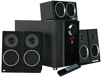 auvisio PCM 5.1-Surround-Soundsystem, optischer Audio-Eingang, 200 Watt auvisio 5.1 Sourround Lautsprecher System