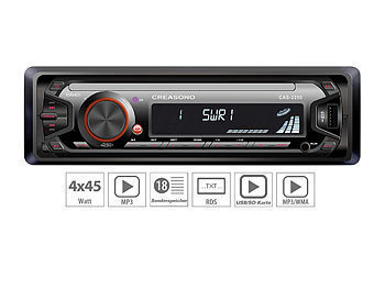 1 DIN Autoradio: Creasono MP3-RDS-Autoradio CAS-2250 mit USB-Port & SD-Slot, 4x 45 W