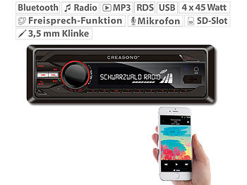 Autoradio, Bluetooth: Creasono MP3-RDS-Autoradio CAS-3300.bt mit USB, SD, BT & Freisprecher