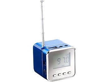 "auvisio Mini-MP3-Station ""MPS-550.cube"" mit integriertem Radio, blau, 8 Watt auvisio MP3-Soundstations"