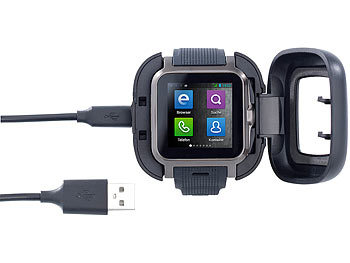 "simvalley MOBILE 1.5""-Smartwatch AW-414.Go mit Android4, BT, WiFi, Cam simvalley MOBILE Android Smartwatches"