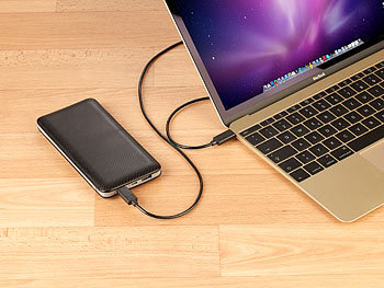 revolt 2in1-MacBook-Powerbank mit USB-C- & USB-A-Port, 10.000 mAh revolt USB-C Powerbanks