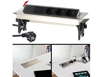 revolt versenkbare profi einbau tisch steckdose 3 fach 2x usb edelstahl. Black Bedroom Furniture Sets. Home Design Ideas