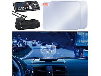 Head Up Display OBD: Lescars Head-up-Display mit Bluetooth HUD-55C.bt für OBD2-Anschluss