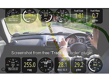 Lescars Head-up-Display mit Bluetooth HUD-55C.bt für OBD2-Anschluss Lescars Head-up-Display mit Bluetooth