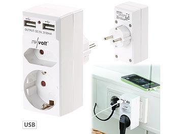 revolt 2 fach steckdose und 2 fach usb netzteil 2 1 ampere. Black Bedroom Furniture Sets. Home Design Ideas