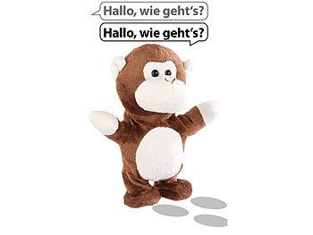 Sprechender Plüsch-Affe mit Mikrofon, spricht nach und läuft, 22 cm / Kinder Spielzeug