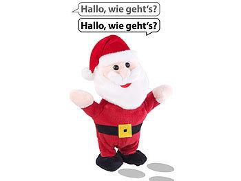Sprechender Weihnachtsmann mit Mikrofon, spricht nach und läuft, 22 cm / Weihnachtsmann