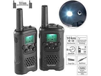 2er-Set PMR-Funkgeräte mit VOX, bis 10 km Reichweite, LED-Taschenlampe / Funkgerät