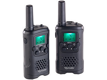 simvalley communications 2er-Set PMR-Funkgeräte mit VOX, 10 km Reichweite, LED-Taschenlampe simvalley communications Walkie-Talkies