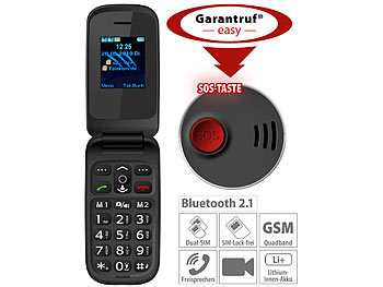 Senioren Klapphandy: simvalley Mobile Notruf-Klapphandy XL-949 mit Garantruf Easy, Dual-SIM und Bluetooth