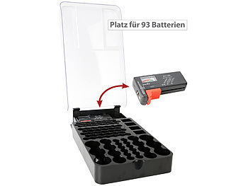 Batteriebox: tka 2in1-Batterie-Organizer für 93 Batterien, mit Batterie-Tester