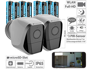 WLAN Camera: VisorTech 2er-Set Full-HD-IP-Überwachungskameras, 12 Monate Stand-by, 8 Akkus