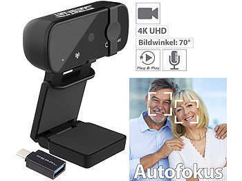 Webcam PC: Somikon Real 4k USB Webcam mit Privacy Mode (Linsenabdeckung) & USB-C Adapter
