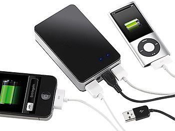 revolt Powerbank mit 6600 mAh für iPod, iPhone, Handy, Player revolt USB Powerbanks