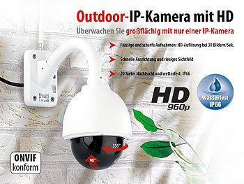 7links Speed-Dome Outdoor-IP-Kamera mit HD-Auflösung IPC-440.HD, 960p 7links Outdoor-IP-HD-Kameras mit PTZ