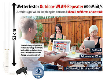 7links Outdoor-WLAN-Repeater WLR-600.out mit 600 Mbit/s und IP65 7links WLAN-Repeater
