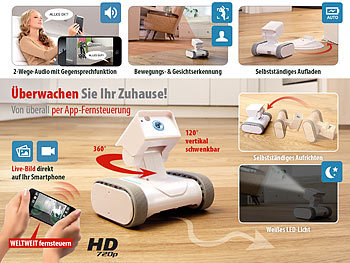 7links Home-Security-Rover HSR-1 mit HD-Video, weltweit fernsteuerbar 7links WiFi Kamera Roboter