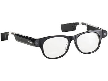 Brille Kamera: simvalley Mobile Smart Glasses SG-101.bt mit Bluetooth und 720p HD