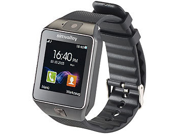 "simvalley MOBILE 1,5""-Handy-Uhr & Smartwatch PW-430.mp mit Bluetooth 3.0 und Fotokamera simvalley MOBILE Handy-Smartwatches mit Bluetooth für Android"