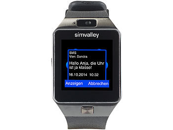 simvalley mobile bt uhr 1 5 handy uhr smartwatch pw mit bluetooth 3 0 und fotokamera. Black Bedroom Furniture Sets. Home Design Ideas