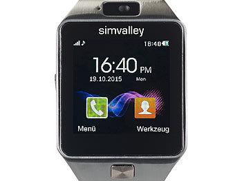 simvalley mobile bt uhr 1 5 handy uhr smartwatch pw mit bluetooth 3 0 und fotokamera. Black Bedroom Furniture Sets. Home Design Ideas