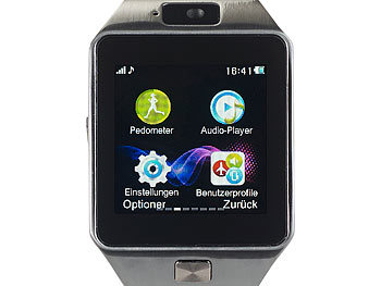 "simvalley MOBILE 1,5""-Handy-Uhr & Smartwatch PW-430.mp mit Bluetooth 3.0 und Fotokamera simvalley MOBILE Handy-Smartwatches mit Bluetooth"