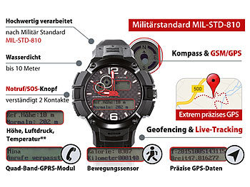 simvalley MOBILE GPS-Multi-Sportuhr MOT-15.G mit SIM-Slot, Militärstandard simvalley MOBILE Multifunktions Outdoor Handy Uhren