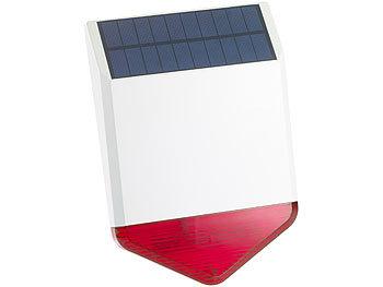 Autarke Solar-Funk-Alarmanlage mit Sirene und Licht-Warnsignal, 110 dB / Alarmanlage