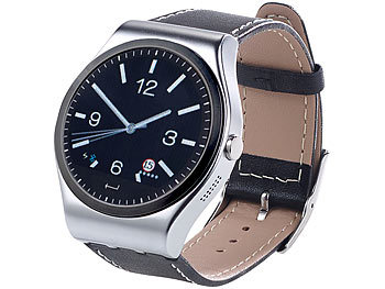 simvalley MOBILE Bluetooth-4.0-Smartwatch mit Metallgehäuse  (refurbished) simvalley MOBILE Smartwatches mit Pulssensor für iPhone & Android