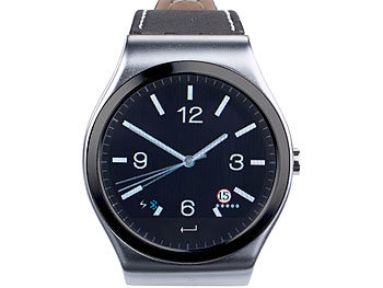 simvalley MOBILE Smartwatch mit Bluetooth 4.0, mit Metallgehäuse  (refurbished) simvalley MOBILE Smartwatches mit Pulssensor für iPhone & Android