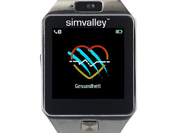 simvalley MOBILE Handy-Uhr/Smartwatch mit Kamera, Bluetooth 4.0, iOS & Android simvalley MOBILE