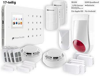 visortech alarm funk alarmanlage mit wlan gsm anbindung 17 teiliges starter set gsm alarm. Black Bedroom Furniture Sets. Home Design Ideas