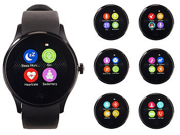 simvalley MOBILE Handy-Uhr & Smartwatch für iOS & Android mit Bluetooth & Herzfrequenz simvalley MOBILE Handy-Smartwatches mit Bluetooth & Herzfrequenz-Messung für Android und iOS