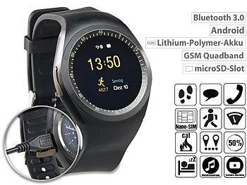 simvalley Mobile 2in1-Uhren-Handy & Smartwatch für Android ...