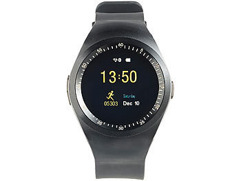 simvalley MOBILE 2in1-Uhren-Handy & Smartwatch für Android, rundes Display, Bluetooth simvalley MOBILE Handy-Smartwatches mit Bluetooth für Android