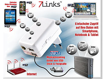 7links 4in1-Mini-WLAN-Router CLD-400.travel, Media-Streaming und 3G 7links 3G- / UMTS-Router