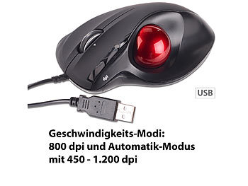 Mod-it USB-Laser-Trackball, 5 Tasten und 4-Wege-Scrollrad, 1.200 dpi Mod-it Trackball-Mäuse