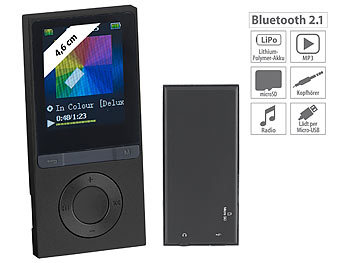 auvisio MP3-Player V3 mit UKW-Radio & E-Book-Reader, microSD, Bluetooth 2.1 auvisio Bluetooth-Video- und MP3-Player