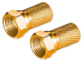 goobay 2er-Set Universal-F-Stecker 7 mm, vergoldet, schraubbar