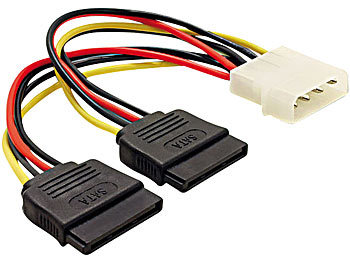 Strom-Adapterkabel für SATA-Festplatten (Molex auf 2x SATA) ca. 15cm / Festplattenadapter