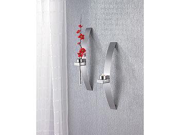 chg 2er set edelstahl wandleuchte f r teelichter inkl 2 blumenhalter. Black Bedroom Furniture Sets. Home Design Ideas