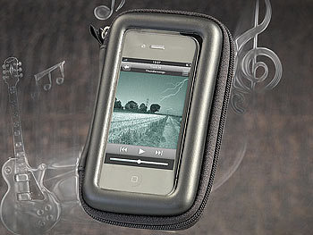 auvisio Wasserfeste 2in1-Sound-Bag für iPhone, iPod touch & MP3-Player auvisio Wasserdichte Schutzhüllen für Smartphones, MP3-Players & Kameras