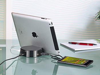 revolt Ladegerät Handy: Intelligente 4 Port USB Ladestation