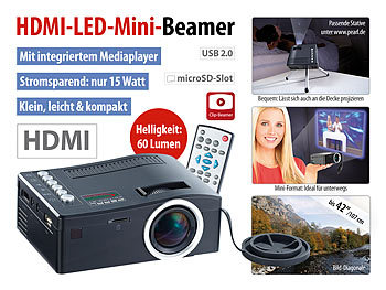 SceneLights HDMI-LED-Mini-Clipbeamer LB-2500.mini, Mediaplayer SceneLights LED Beamer