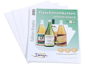 128 Inkjet-Flaschenetiketten 10x13 cm naturweiss/wischfest / Flaschenetiketten