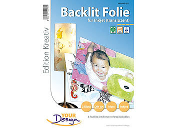 Druckfolie: Your Design 3 Blatt Inkjet Backlit-Folie (transluzent) 170µm A4
