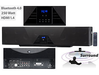 auvisio 6-Kanal-3D-Soundbar, 5.1-Surround-Sound, Bluetooth 4.0, HDMI, 250 Watt auvisio 5.1-Surround-Soundbars